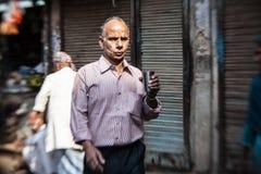 Morgon på en gata i gamla Delhi, Indien Fotografering för Bildbyråer