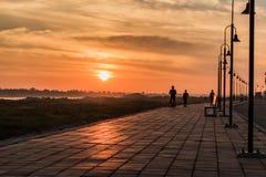 Morgon på en parkera nära den Khong floden i det Bueng Kan området, Th Fotografering för Bildbyråer