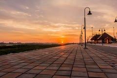 Morgon på en parkera nära den Khong floden i det Bueng Kan området, Th Arkivfoto