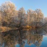Morgon på en Vorskla flod på den sena höstliga säsongen Royaltyfria Bilder