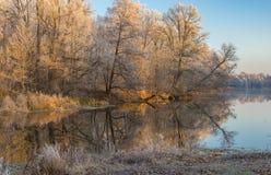 Morgon på en Vorskla flod på den sena höstliga säsongen, Sumskaya oblast, Ukraina Royaltyfria Bilder