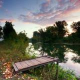 Morgon på floden Arkivfoto