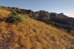 Morgon på foten av berget som förbiser det befriade berget Arkivfoto