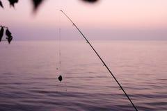 morgon på sjön med en metspö royaltyfri fotografi