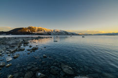 Morgon på sjön Tekapo Arkivfoton