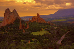 Morgon på trädgården av gudarna, Colorado Royaltyfri Fotografi