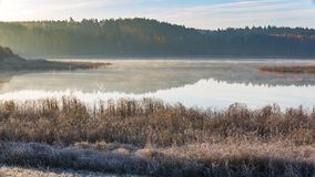 Morgon sjö på den frostiga hösten Arkivbild