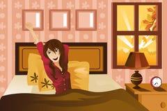 morgon som vaknar upp kvinnan royaltyfri illustrationer