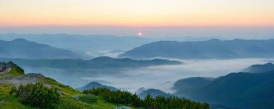Morgondimma i de Carpathian bergen Royaltyfri Fotografi