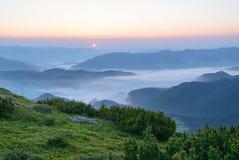 Morgondimma i de Carpathian bergen Arkivbild