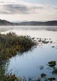Morgondimma på fisk sjön med bergreflexioner Arkivfoto