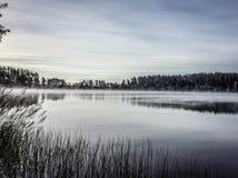 Morgondimma på sjön Arkivbilder