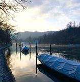 Morgondumhet eller Rhein flod Royaltyfria Foton