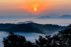 Morgonen i misten av vintern i den Phu bo biten, Loei Thailand royaltyfri foto