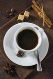 Morgonespressokaffe med kanel och socker Royaltyfri Foto
