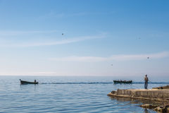 Morgonfiskare i Krim Royaltyfri Fotografi