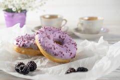 Morgonfrukost med kaffe och hemlagade bakade blåbärdonuts royaltyfri fotografi