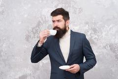 Morgoninspiration fashion den male modellen mogen aff?rsman Brutal sk?ggig hipster i formell dr?kt modern livstid elegantt royaltyfri foto