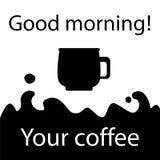 Morgonkaffeillustration, svartvit kaffesymbol Royaltyfri Foto