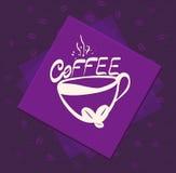 Morgonkopp kaffe på färgbakgrund Illustration för tappningstilvektor stock illustrationer