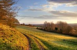 Morgonlandskap, England Arkivbilder