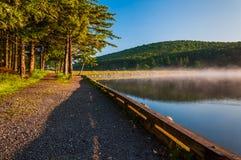 Morgonljus och dimma på den prydliga knopp sjön, West Virginia. fotografering för bildbyråer
