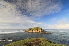 Morgonljus på den lilla ön Arkivbilder