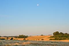 Morgonmåne över fält Arkivfoton