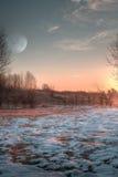 Morgonmåne Royaltyfri Fotografi