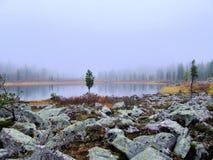 Morgonmist på en bergsjö. Royaltyfri Foto