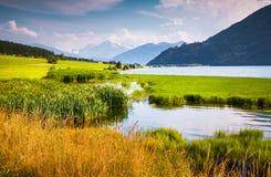 Morgonmist på sjön Muta (Haidersee) Royaltyfri Bild