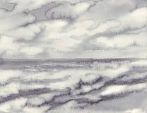 Morgonmist vid bakgrunden för vattenfärg för havssvart den vita Fotografering för Bildbyråer