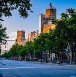 Morgonplatser av Barcelona, Spanien royaltyfri foto