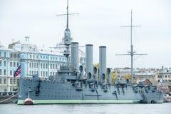 Morgonrodnad ett ryskt museumskepp Arkivbild