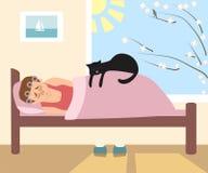Morgonsömn, kvinna och katt som sover i sängen, vektortecknad film Arkivbild