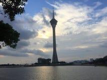 Morgonsikt av det Macao tornet royaltyfria foton
