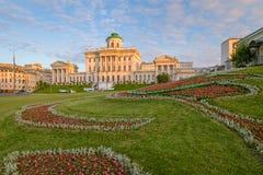Morgonsikt av det Pashkov huset i Moskva Arkivfoto
