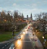 Morgonsikt av Dresden, Tyskland, December 2017 Royaltyfri Bild