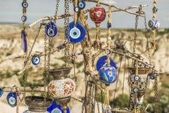 Morgonskymning i felika lampglas av den Goreme dalen Cappadocia Fotografering för Bildbyråer