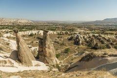 Morgonskymning i felika lampglas av den Goreme dalen Cappadocia Royaltyfri Fotografi