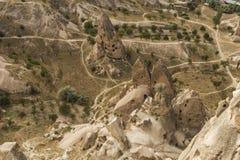 Morgonskymning i felika lampglas av den Goreme dalen Cappadocia Arkivfoton