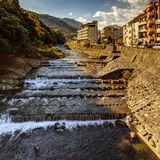 Morgonsolen på den Hakone Yumoto byn Fotografering för Bildbyråer
