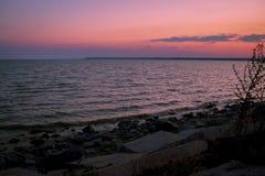 Morgonsommargryning på flodbanken Royaltyfri Bild