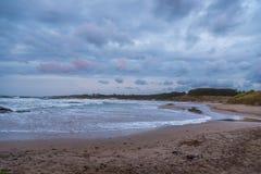 Morgonstormmoln över stranden på det karibiska havet royaltyfri foto