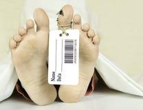 Morgue. Human feet with toe tag bar code royalty free stock images
