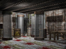 Morgue with blood. Old spooky morgue with blood on the floor Royalty Free Stock Photos