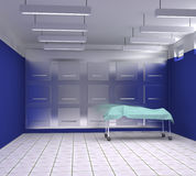 Morgue with blue and white walls. 3d illustration Stock Photos