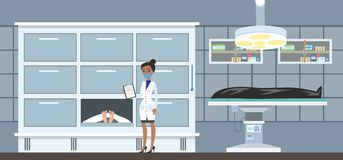 Morgue interior with cadavers. Morgue interior. Dead bodies in the mortuary. Female morgue worker standing with clipboard and looking at cadaver. Vector flat stock illustration