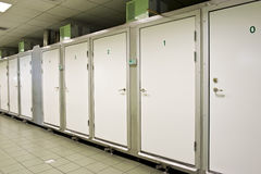 Morgue store. Numbered doors of the fridges in the morgue store Stock Images