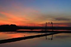Moring Sea Salt farmland Stock Photos